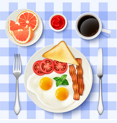 American Full Breakfast Top view Image vector image