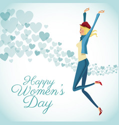 happy womens day card fun girl with blue hearts vector image