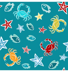 Seamless pattern with starfishes crabs and fishes vector
