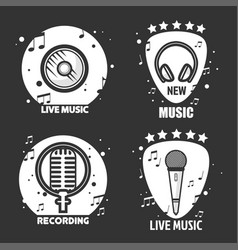 Music labels headphone microphone and vector