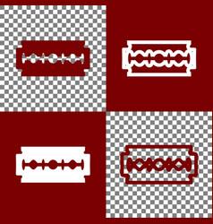 Razor blade sign bordo and white icons vector