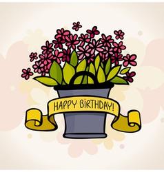 Birthday card with flower vector