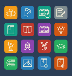 Simple education icons set for website and mobile vector