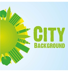 Buildings on world background green vector