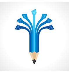 Unity hands make pencil vector