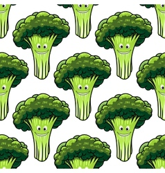 Happy healthy broccoli seamless pattern vector
