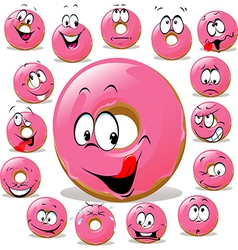 Donut cartoon with many facial expression isolated vector
