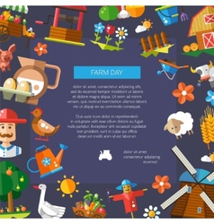 Farm day flyer of modern flat design farm and vector