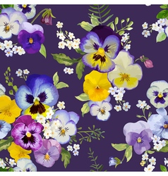 Pansy Flowers Background - Seamless Floral Pattern vector image
