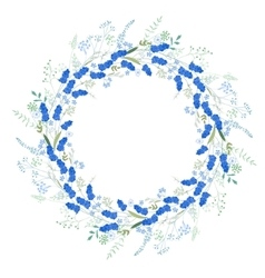 Detailed contour wreath with muscari and herbs vector