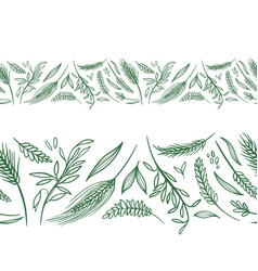 agriculture seamless borders vector image vector image