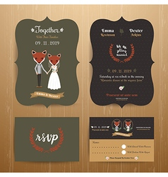 Animal bride and groom cartoon wedding invitation vector