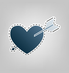 arrow heart sign blue icon with outline vector image vector image