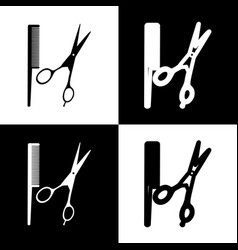 Barber shop sign black and white icons vector