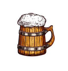 Beer wooden mug isolated sketch design vector