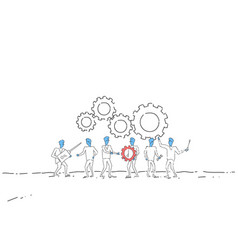 Business people group under cog wheel work vector