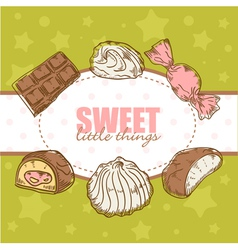 Creative retro card with candies and marshmallow vector image vector image