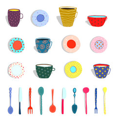 Cups mugs plates dishes silverware collection vector