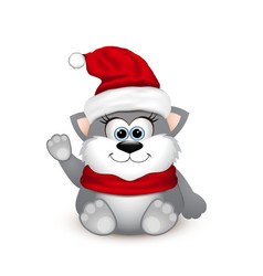 Cute kitten in santa hat vector