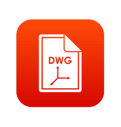 file dwg icon digital red vector image