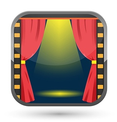 Film curtain spotlight show icon vector