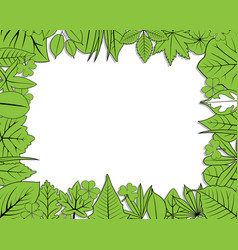 Green leaves frame vector