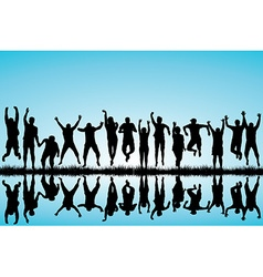 Group of young people jumping vector image vector image