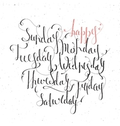 Handwritten days of the week vector image