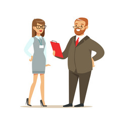 job interview with manager in office colorful vector image vector image