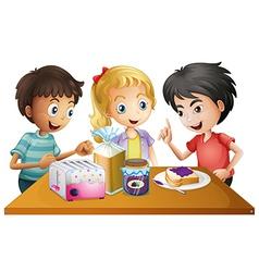 Kids preparing their snacks vector image vector image