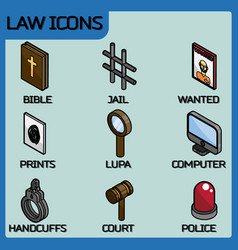 law color outline isometric icons vector image