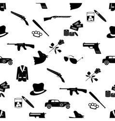 Mafia criminal black symbols and icons seamless vector
