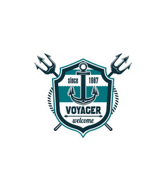 marine seafarer anchor trident icon vector image vector image