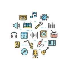 Music Round Design Template Thin Line Icon vector image vector image