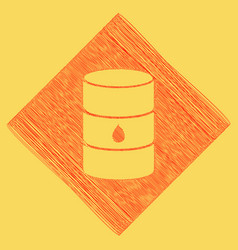 Oil barrel sign red scribble icon vector
