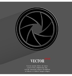 Photo camera diaphragm flat modern web button with vector
