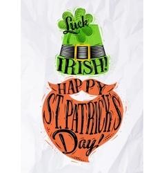 Poster St Patrick hat beard vector image vector image