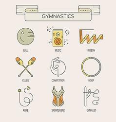 Rhythmic gymnastics icons vector