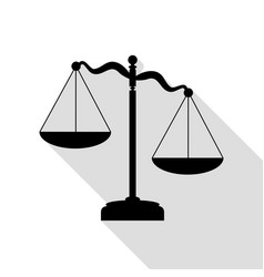 scales of justice sign black icon with flat style vector image