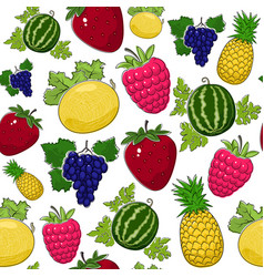 Seamless pattern of juicy sweet fruits vector