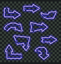Set of glowing blue neon arrows vector