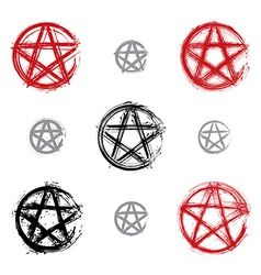 Set of hand drawn pentagram icons scanned and vector