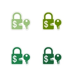 Set of paper stickers on white background lock and vector