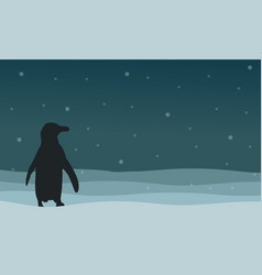 Silhouette of penguin on hill landscape vector