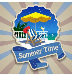 Summer time label vector image