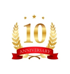 10 years anniversary golden label with ribbons vector