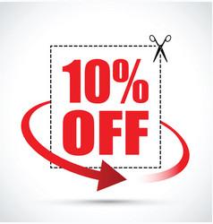 Ten per cent off scissors sign vector