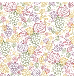 Line art grape vines seamless pattern background vector