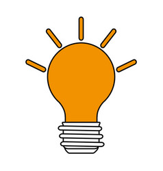Color silhouette image cartoon light bulb with vector