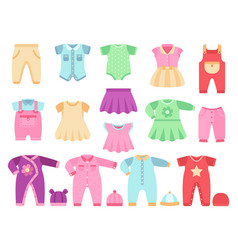 colorful baby girl clothes set vector image